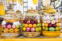 Bali offerings fruits. To god, at temple Royalty Free Stock Photos