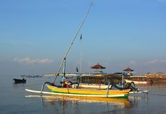 Bali Outrigger Fishing Boats at Down, Sanur Indonesia. Royalty Free Stock Photography