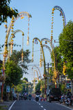 Bali Penjors, decorated bamboo poles along the village street in Bali Stock Photography