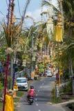 Bali Penjors, dekorerade bambupoler längs bygatan i Bali, Indonesien royaltyfria bilder