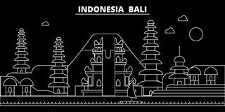 Bali silhouette skyline. Indonesia - Bali vector city, indonesian linear architecture, buildings. Bali travel Stock Images