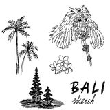 Bali sketch. Temple, Barong, palms, frangipani. Religious ceremony, traditional holiday, flora. Royalty Free Stock Photography