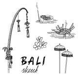 Bali skissar Penjor för Galungan, ceremoniella paraplyer, ceremoniell ask, frangipani royaltyfri illustrationer