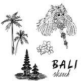 Bali skissar Templet Barong, gömma i handflatan, frangipanien Religiös ceremoni, traditionell ferie, flora stock illustrationer