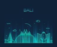 Bali skyline trendy vector illustration linear Stock Photography