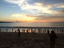 Bali strandsolnedgång Royaltyfri Bild