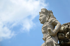 Bali style sculpture and blue sky in hindu temple at indonesia Royalty Free Stock Photos