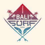 Bali surf rider, Indonesia. Surfing vintage label with waves, pa Royalty Free Stock Photos