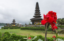 Bali Temple with Flowers. Beautiful temple on lake in extinct volcano crater with yellow flowers in the foreground Stock Photography
