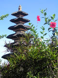 Bali Temple with pink flowers. Top of a hindu Bali Temple with pink flowers in front royalty free stock images