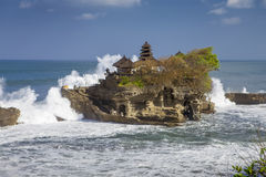Bali temple tanah lot. Bali Island indonesia famous temple tanah lot with big waves Royalty Free Stock Photos