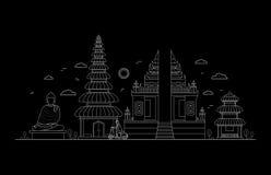 Bali Thin Line Art. Vector Royalty Free Stock Image