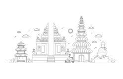 Bali Thin Line Art. Vector Royalty Free Stock Photos