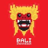 Bali traditional mask pixel art vector card Stock Photo