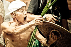 Bali Traditional Pandanus War. Bali Pandanus War is traditional culture from karangasem. Bali Local people used to call Mekaré-kare royalty free stock photo