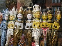 Bali: traditional wooden carvings at a temple Royalty Free Stock Photography