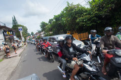 Bali traffic. BALI - JANUARY 20. Traffic jam on streets in Bali on January 20, 2012 in Bali, Indonesia. Roads on the island are getting more congested as Royalty Free Stock Photos