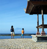 Bali Vacation Indonesia. Mother and son on a Bali beach stock photos