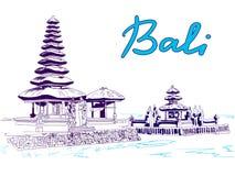 Bali VECTOR sketch, blue colors Stock Photography
