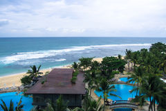 Bali. View of the beach from the 15th floor of the hotel, located in a picturesque location on the ocean Stock Photo