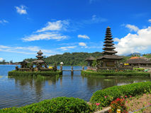Bali water temple on lake, Indonesia Stock Photo
