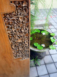 Bali wood carved door Stock Photos