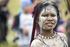 Dani tribes woman at the annual Baliem Valley Festival. Baliem Valley, West Papua/Indonesia - August 9, 2016: Portrait of a Dani tribes woman at the annual stock images