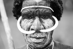 Dani tribesman at the annual Baliem Valley Festival. Baliem Valley, West Papua/Indonesia - August 9, 2016: Portrait of a Dani tribesman at the annual Baliem royalty free stock photos