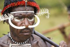 Dani tribesman at the annual Baliem Valley Festival. Baliem Valley, West Papua/Indonesia - August 9, 2016: Portrait of a Dani tribesman at the annual Baliem stock image