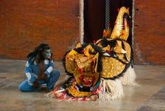 Balijczyka Barong tradycyjny taniec z Barong Indonezja Zdjęcia Royalty Free