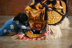 Balijczyka Barong tradycyjny taniec z Barong Indonezja Zdjęcie Stock