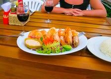 Balijczyka Jimbaran plażowy sławny dla go ` s dennego jedzenia perfect restauracje Zdjęcie Stock