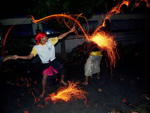 Balijczyka Perang Api rytuał, Indonezja Obraz Stock