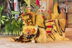 Balijczyka tradycyjny taniec z Barong Zdjęcia Royalty Free