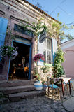 BALIKESIR, TURKEY - MAY 18 2015:  Flowery bakery in old touristic town, Cunda Alibey Island, Ayvalik. It is a small island in the Stock Photo