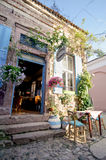BALIKESIR, TURKEY - MAY 18 2015: Flowery bakery in old touristic town, Cunda Alibey Island, Ayvalik. It is a small island in the n Stock Photos
