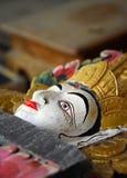 Balinees woodcarving gezicht van hinduistic godin Stock Fotografie