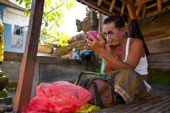 Balinese actor preparing for a dance Barong Royalty Free Stock Photos