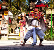 Balinese actors during a dance Barong Stock Images