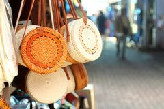 Balinese bags and souvenirs stock photo