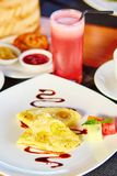 Balinese banana pancake and watermelon juice Royalty Free Stock Photography
