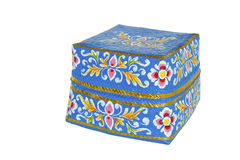 Balinese flower painted bamboo basket Stock Images