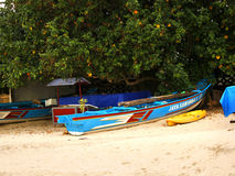 A balinese boat on sand. A colorful touristic boat on sand, Bali, Indonesia, November 2016 royalty free stock image