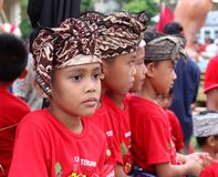 Portrait of Balinese boys in traditional costume at Nyepi festival, Bali, Indonesia Royalty Free Stock Photo