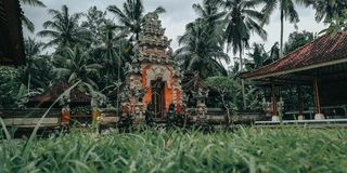 Balinese carvings, very beautiful, for carving the background and, this picture has a background in the temple, from Bali stock photo