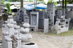 Balinese cement sculpture market in Ubud Bali royalty free stock photo
