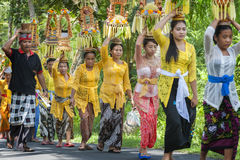 Balinese Ceremonial Procession Royalty Free Stock Images