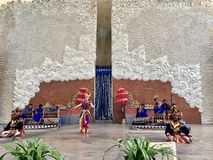 Balinese dance performances on stage at the morning at Garuda Wisnu Kencana GWK in Bali in Indonesia. stock images