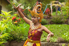 Balinese dancer. Young Balinese female dancer performing traditional Legong dance Stock Photo
