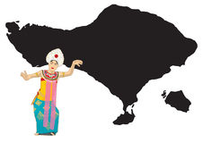 Balinese dancer and map of bali in vector illustration